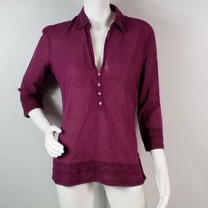 Eddie Bauer Top Semi Sheer Size S Buttons